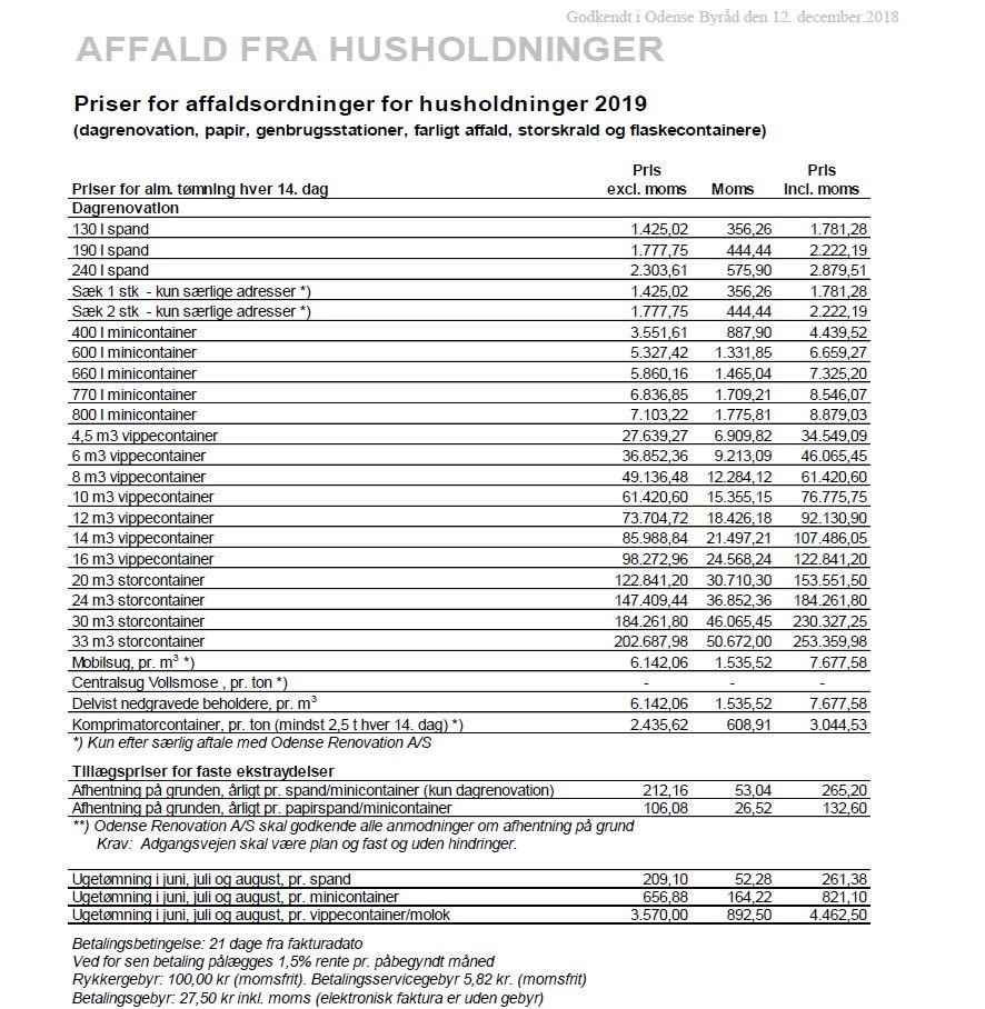 9401e08a Herunder kan du se hele prislisten for private husstande, som inkluderer  dagrenovation (restaffald, papir, genbrugsstationer, farligt affald,  storskrald og ...